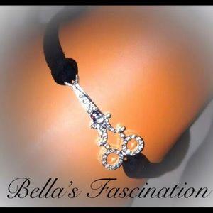 Jewelry - Crystal Stylist Bracelet Black Suede Scissor Shear